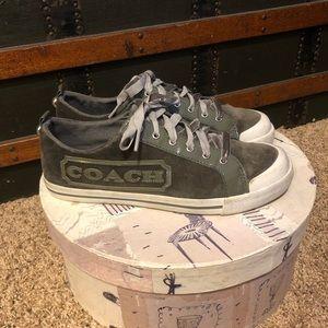 Coach Grey Velvet Sneakers